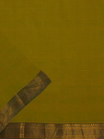 Yellowish Green Mangalagiri Zari border Handwoven Cotton Fabric - 0.6m