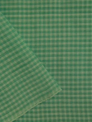 Light Green Boddu Checks  Handwoven Cotton Fabric