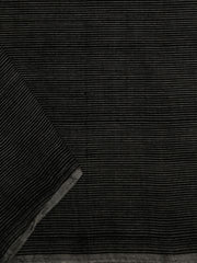 Black with Grey Pin Stripes  Handwoven Cotton Fabric