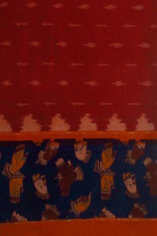 Red with Blue Printed Ikat Kalamkari Fabric