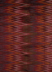 Multi colour Zigzags Raw Handwoven Silk Ikat Fabric