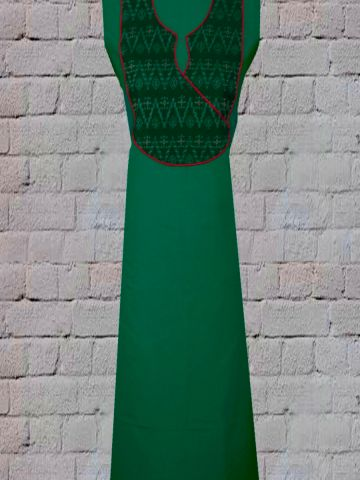 Green Handwoven Fabric with Intricate Orissa Ikat Yoke