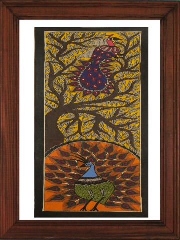 Peacock on Tree - Madhubani Hand Painted Wall hanging