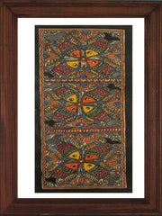 Four Petals Pattern Fishes - Madhubani Hand Painted Wall hanging