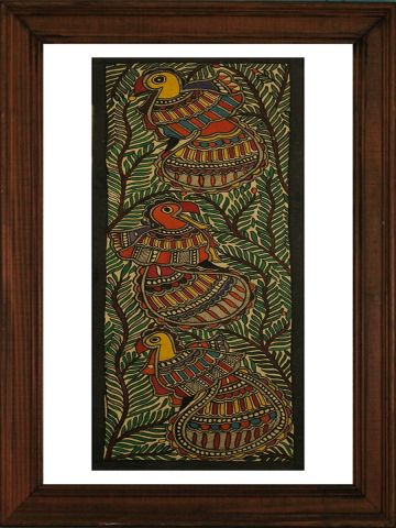 Peacocks - Madhubani Hand Painted Wall hanging