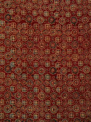 Brick Red Circles & Stars - Block Printed Ajrak Fabric