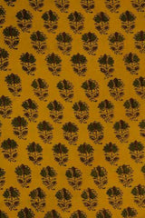 Yellow With Green Flowers Block Printed Cotton Ajrak Fabric - 0.5m