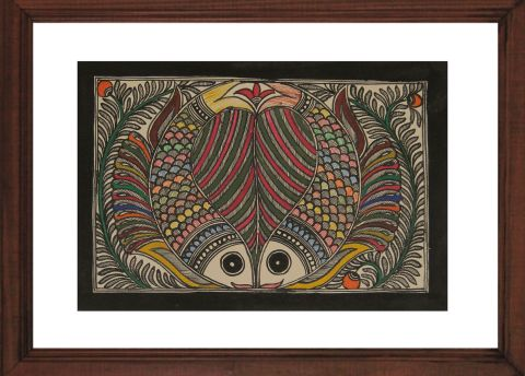 Pair Of Fish - Madhubani Hand Painted Wall hanging