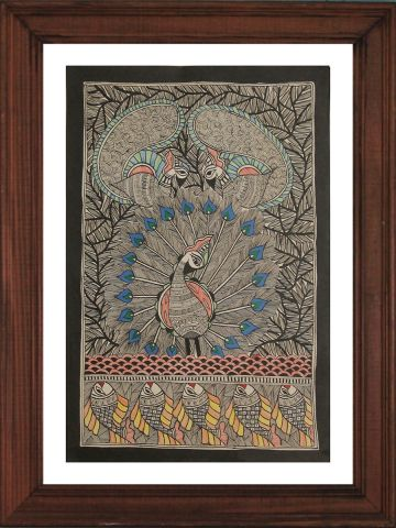 Dancing Peacock & Fishes - Madhubani Hand Painted Wall hanging