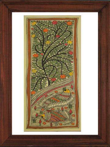 Tree & Fish in Water -  Madhubani Hand Painted Wall hanging