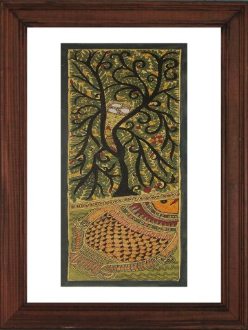 Tree & Fish - Madhubani Hand Painted Wall hanging