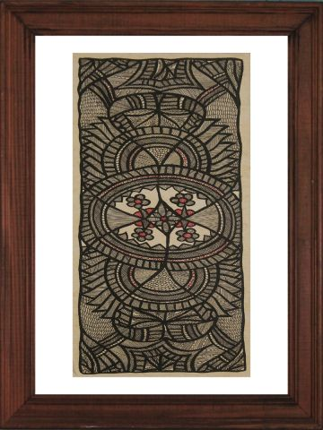 Black Madhubani Hand Painted Wall hanging