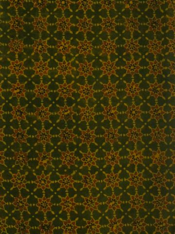Smudged Green with Yellow Stars Block printed Cotton Fabric