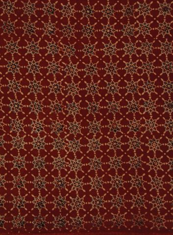 Red Stars Block printed Ajrak Cotton Fabric - 0.7m