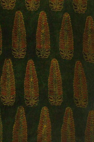 Green with Maroon Block Printed Cotton Ajrak Fabric -1.9m