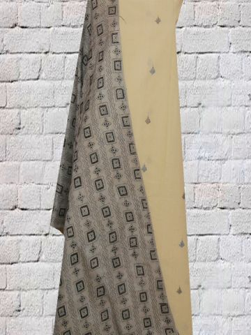 Off White With Blue Black Khadi Jamdani Fabric with Silk Kantha Embroidered Dupatta