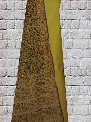 Haldi dyed Cambric cotton with Block Printed Malkha Dupatta