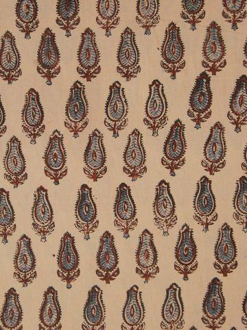 Beige With Maroon & Blue Block Printed Ajrak Cotton Fabric-1.2 m