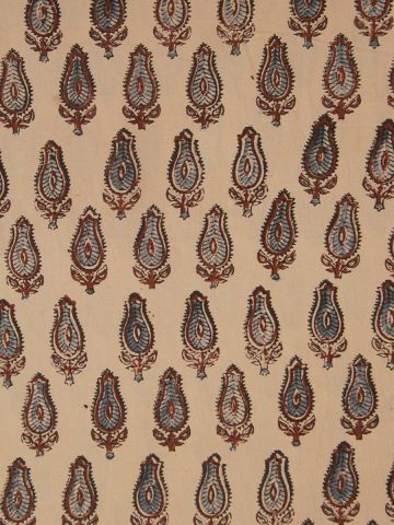 Beige With Maroon & Blue Block Printed Ajrak Cotton Fabric