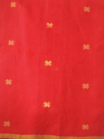 Red Star Zari butta Khadi Jamdani Fabric