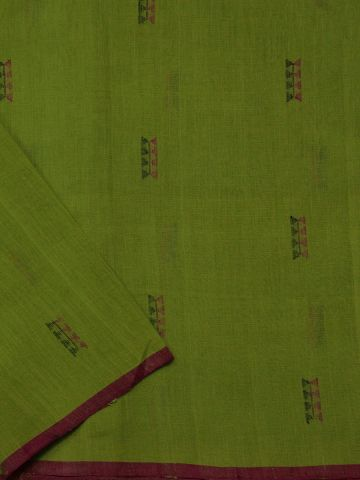 Neon Green With Pink Handwoven Khadi Cotton Fabric