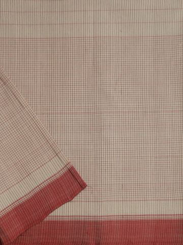 White With Red & Black Stripes Handwoven Cotton Fabric