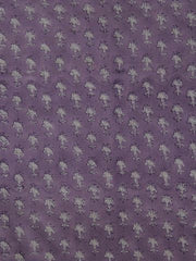 Purple With White  Block Printed Mul Cotton Fabric