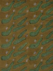 Yellow With Green Block Printed Mul Cotton Fabric