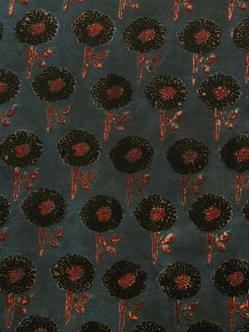 Blue With Black Flower Ajrak Modal Silk Fabric