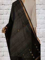 Black with Silver & Gold Zari Jamdani Cotton Dupatta