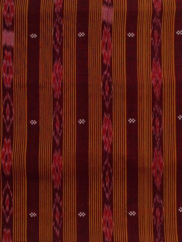 Orange with Maroon Orissa Ikat Hand Woven Cotton