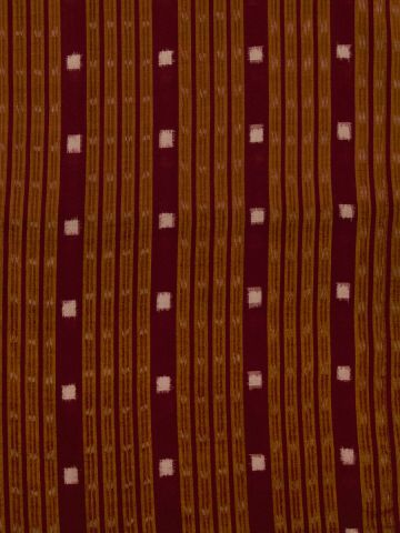 Maroon with White Handwoven Orissa Ikat Fabric