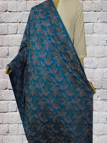 Blue with yellow Block Printed Kantha Work Silk Dupatta