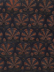 Indigo with Maroon Flower Ajrak Chanderi Silk Cotton Fabric