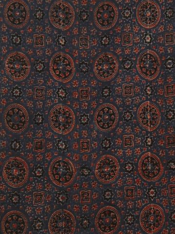 Indigo Circles Ajrak Chanderi Silk Cotton Fabric