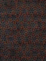 Maroon  Flower Ajrak Chanderi Silk Cotton Fabric