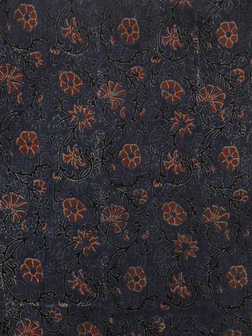 Indigo Floral Ajrak Chanderi Silk Cotton Fabric