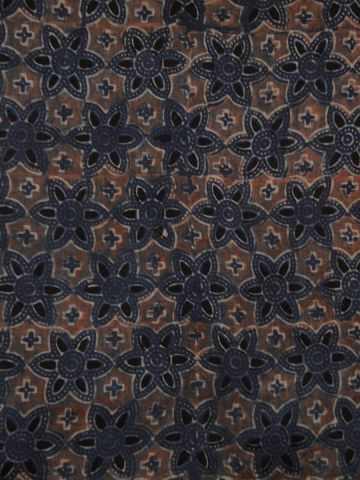 Light Maroon Ajrak Chanderi Silk Cotton Fabric
