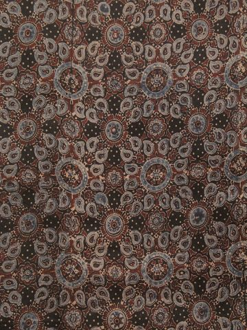 Black with Maroon Ajrak Chanderi Silk Cotton Fabric