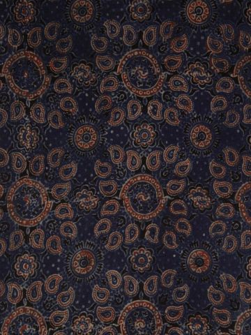 Indigo with Maroon Ajrak Chanderi Silk Cotton Fabric-2m
