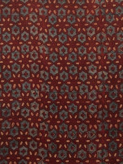 Maroon  Ajrak Chanderi Silk Cotton Fabric