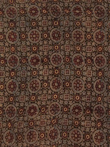 Black Circles Ajrak Chanderi Silk Cotton Fabric