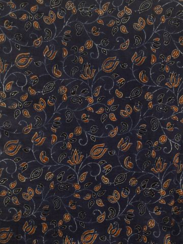 Indigo with Lotus Floral Ajrak Chanderi Silk Cotton Fabric -0.5m