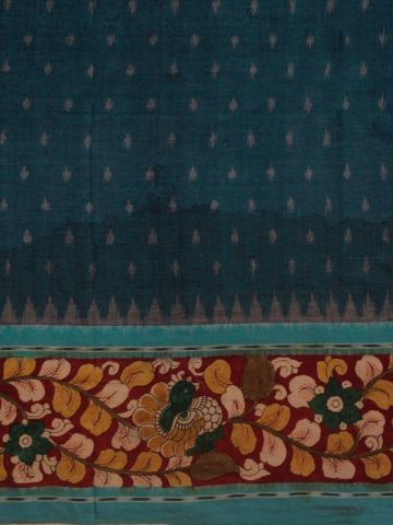 Blue with Maroon Hand Painted Ikat Kalamkari Fabric