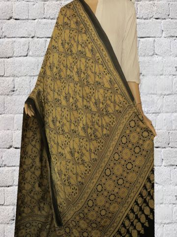 Flowers In Yellow Block Printed Modal Silk Dupatta