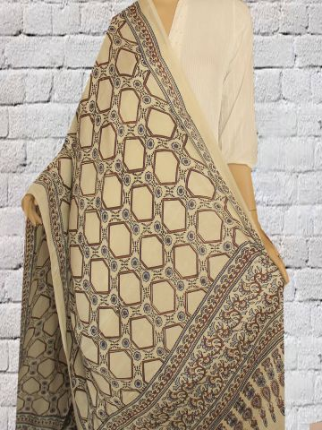 Cream with Red Block Printed Modal Silk Dupatta