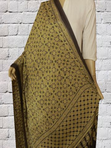 Yellow with Black Block Printed Modal Silk Dupatta