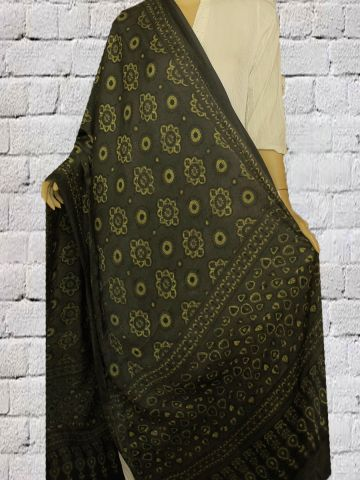 Black With Neon Green Block Printed Modal Silk Dupatta
