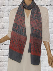 Indigo With Red Mulberry Silk Stole