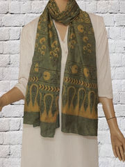 Green With Yellow Circles Stars Mulberry Silk Stole